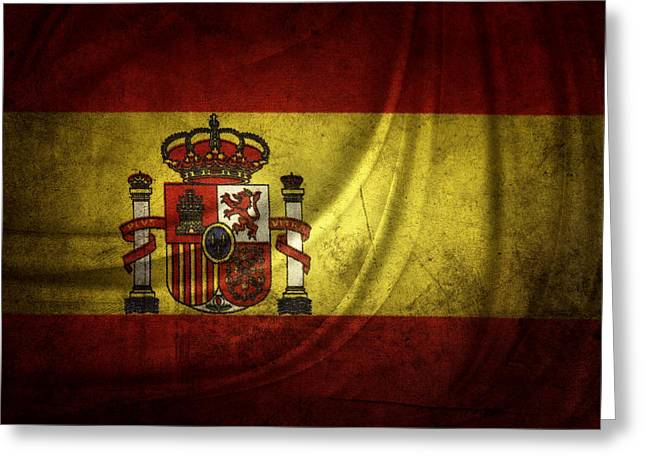 Grunge Photographs Greeting Cards - Spanish flag Greeting Card by Les Cunliffe