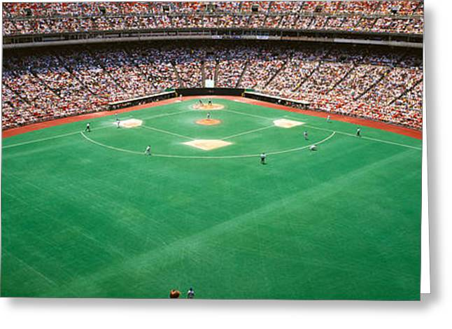 Veterans Stadium Greeting Cards - Spectator Watching A Baseball Match Greeting Card by Panoramic Images