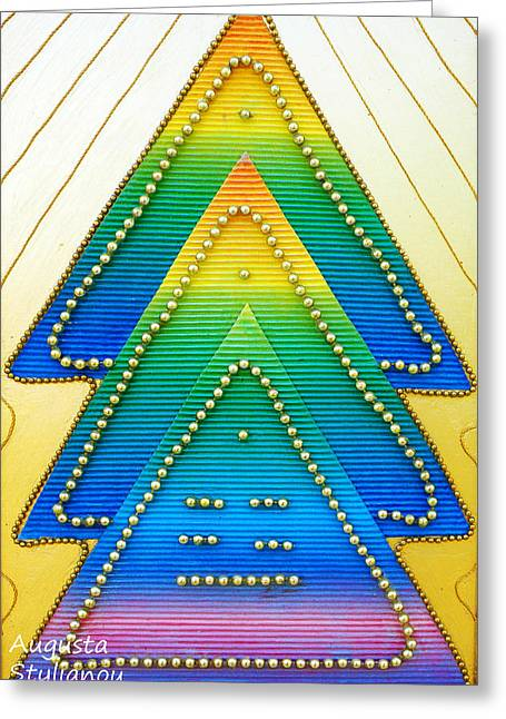 Pyramids Mixed Media Greeting Cards - Spectrum Trees Greeting Card by Augusta Stylianou