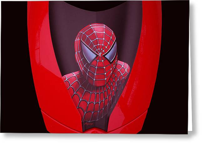 Spyder Greeting Cards - Spider-Man on Spyder Greeting Card by Paul  Meijering