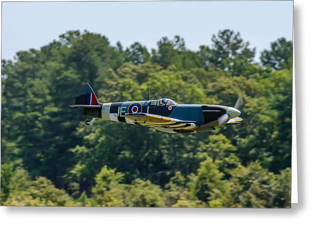 Military Airplanes Greeting Cards - Spitfire Greeting Card by John Ray