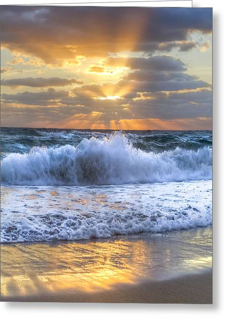 Sunrise On Beach Greeting Cards - Splash Sunrise Greeting Card by Debra and Dave Vanderlaan