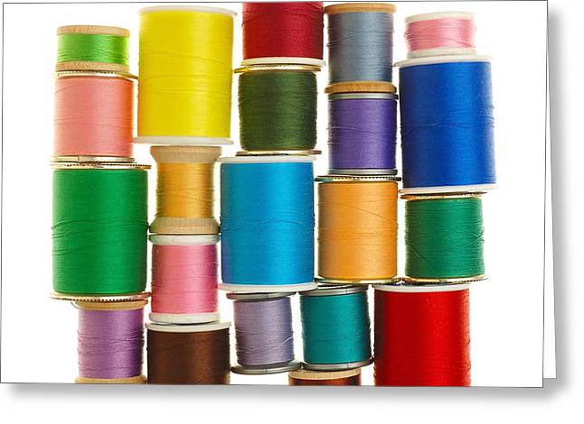 Repaired Greeting Cards - Spools Of Thread Greeting Card by Jim Hughes