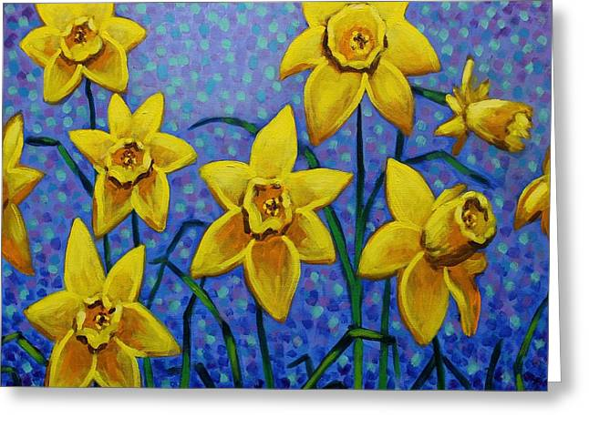 Acrylic Greeting Cards - Spring Daffodils Greeting Card by John  Nolan