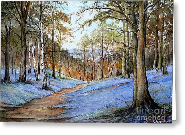Woodland Scenes Paintings Greeting Cards - Spring in Wentwood Greeting Card by Andrew Read