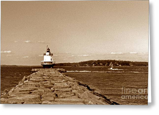Ocean Art Photos Greeting Cards - Spring Point Ledge Lighthouse Greeting Card by Skip Willits