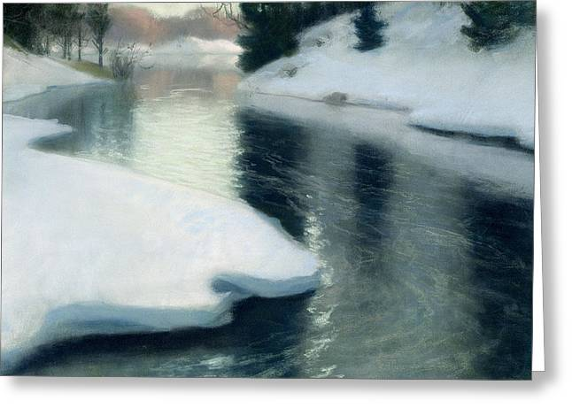 Ice Greeting Cards - Spring Thaw Greeting Card by Fritz Thaulow