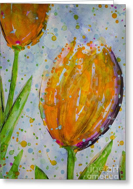 Springy Greeting Cards - Spring Tulips Greeting Card by Jacqueline Athmann