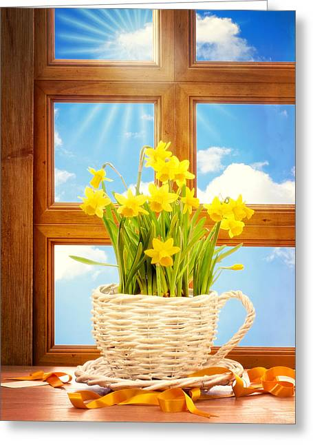 Basket Pot Greeting Cards - Spring Window Greeting Card by Amanda And Christopher Elwell