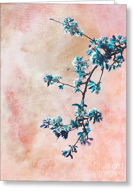 Pink Flower Branch Greeting Cards - Springtime Greeting Card by Viaina
