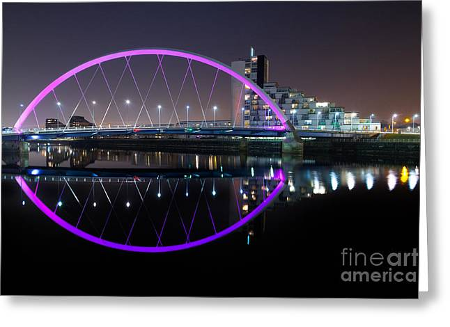 River Clyde Greeting Cards - Squinty Bridge Glasgow Greeting Card by John Farnan