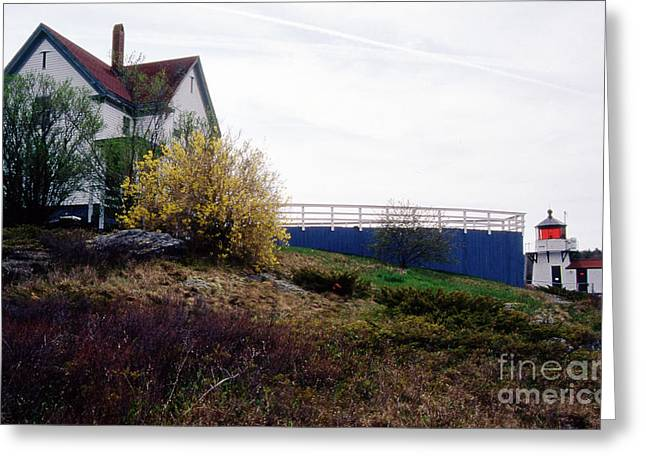 Maine Beach Greeting Cards - Squirrel Point Lighthouse Greeting Card by Skip Willits