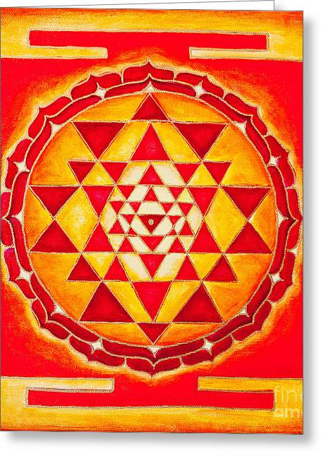 Therapy Greeting Cards - Sri Yantra for Meditation painted Greeting Card by Raimond Klavins