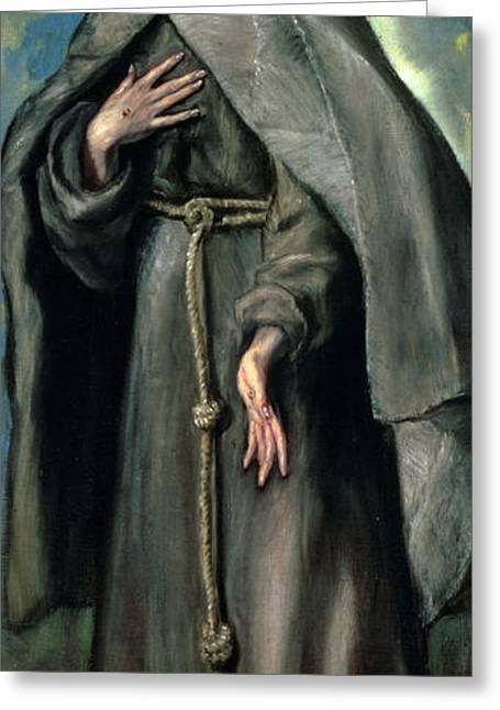 Rope Greeting Cards - St Francis of Assisi Greeting Card by El Greco Domenico Theotocopuli