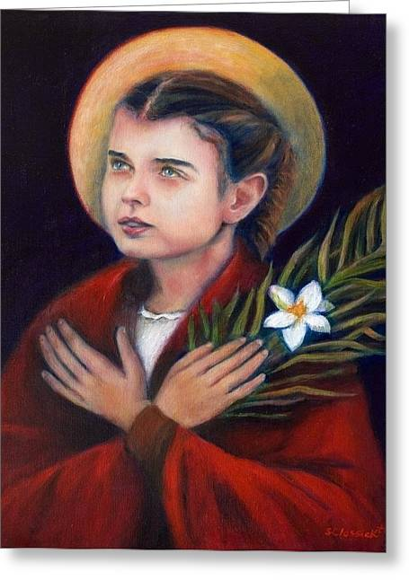 Catholic Saints Paintings Greeting Cards - St. Maria Goretti Greeting Card by Sharon Clossick