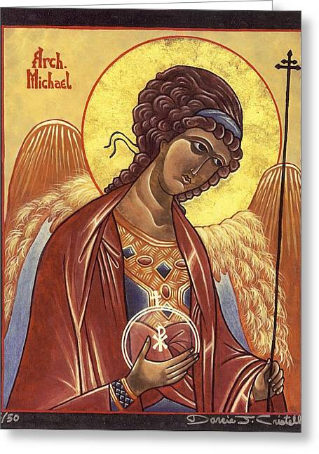 Egg Tempera Paintings Greeting Cards - St. Michael the Archangel Greeting Card by Darcie Cristello
