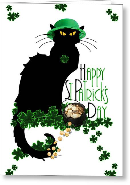 Le Cat Greeting Cards - St Patricks Day - Le Chat Noir Greeting Card by Gravityx9  Designs