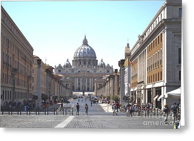 Cupola Photographs Greeting Cards - St Peter Basilica viewed from Via della Conciliazione. Rome Greeting Card by Bernard Jaubert