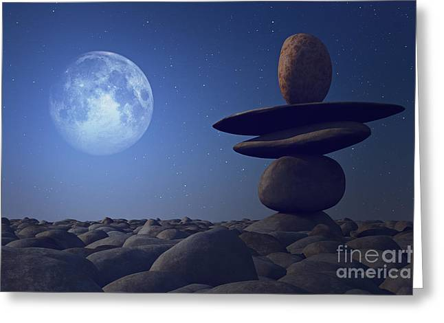 stacked stones in moonlight Greeting Card by Aleksey Tugolukov