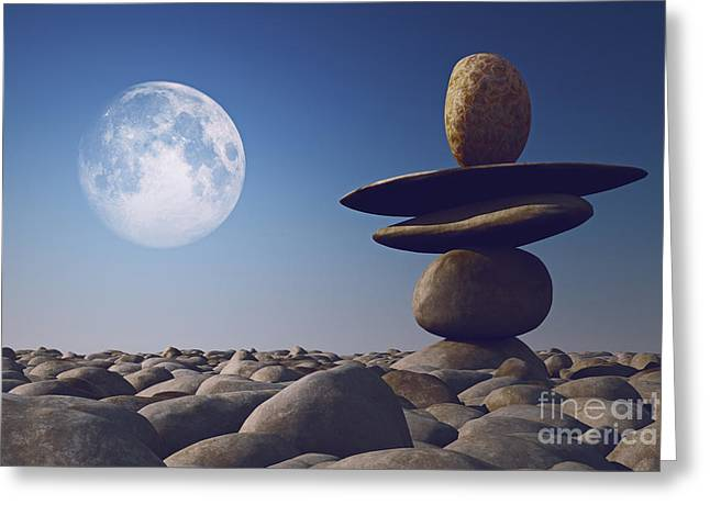 Close Focus Nature Scene Greeting Cards - Stacked Stones In Sunlight Witt Moon Greeting Card by Aleksey Tugolukov