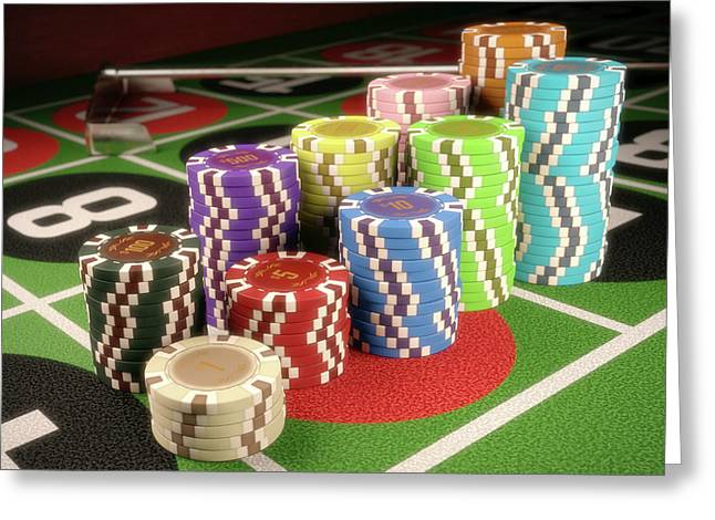 Stacks Of Gambling Chips Greeting Card by Ktsdesign
