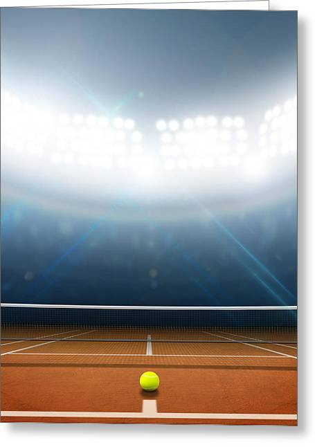 White Clay Greeting Cards - Stadium And Tennis Court Greeting Card by Allan Swart