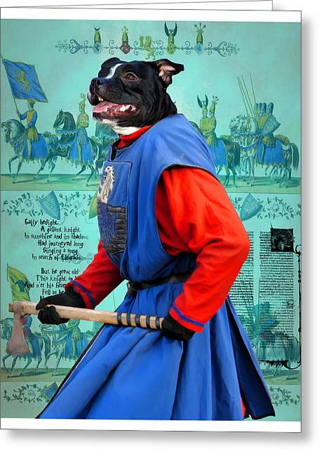 Staffie Greeting Cards - Staffordshire Bull Terrier Art Canvas Print Greeting Card by Sandra Sij