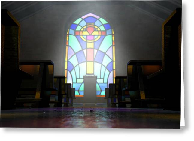 Crucifix Digital Art Greeting Cards - Stained Glass Window Church Greeting Card by Allan Swart