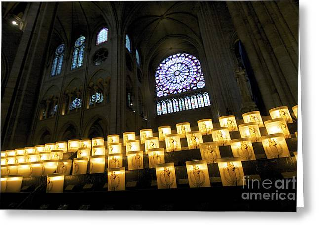 Christianity Greeting Cards - Stained glass window of Notre Dame de Paris. France Greeting Card by Bernard Jaubert