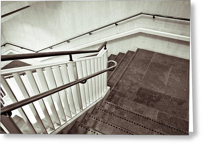 Bannister Greeting Cards - Staircase Greeting Card by Tom Gowanlock