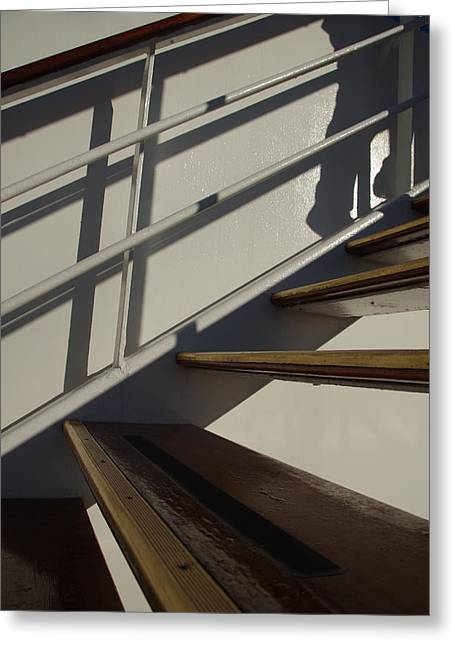 Wooden Stairs Greeting Cards - Up He Goes Greeting Card by Marilyn Wilson