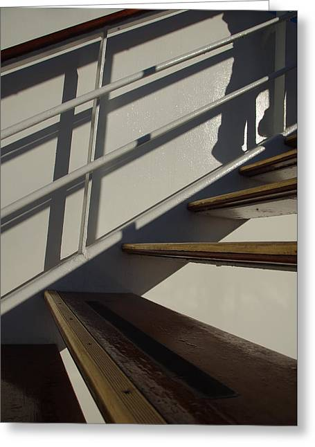 Wooden Ship Greeting Cards - Shadow Ascending Greeting Card by Marilyn Wilson