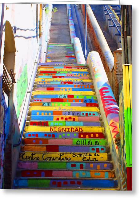 Stairway To Heaven Valparaiso  Chile Greeting Card by Kurt Van Wagner
