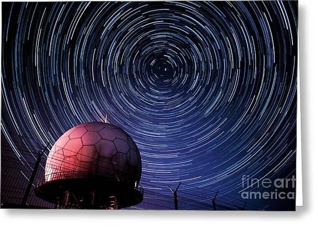 Star Trails And Radar Globe Greeting Card by Eszter Kovacs