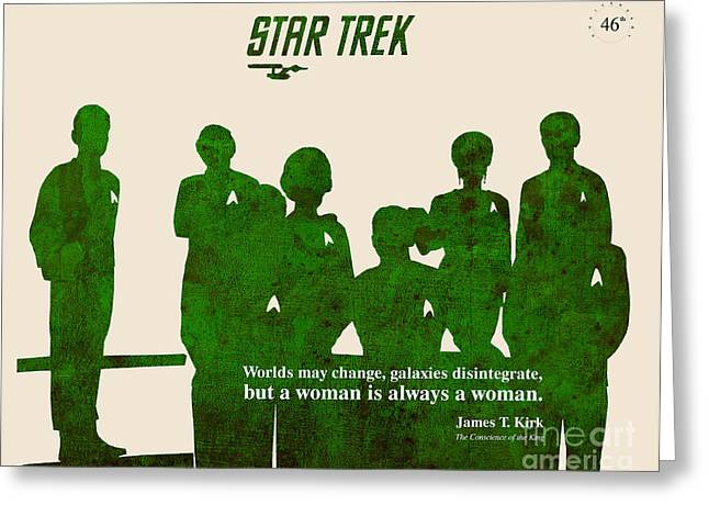 Kirk Paintings Greeting Cards - Star Trek Original - Captain Kirk Quote Greeting Card by Pablo Franchi