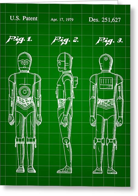 Galactic Empire Greeting Cards - Star Wars C-3PO Patent 1979 - Green Greeting Card by Stephen Younts