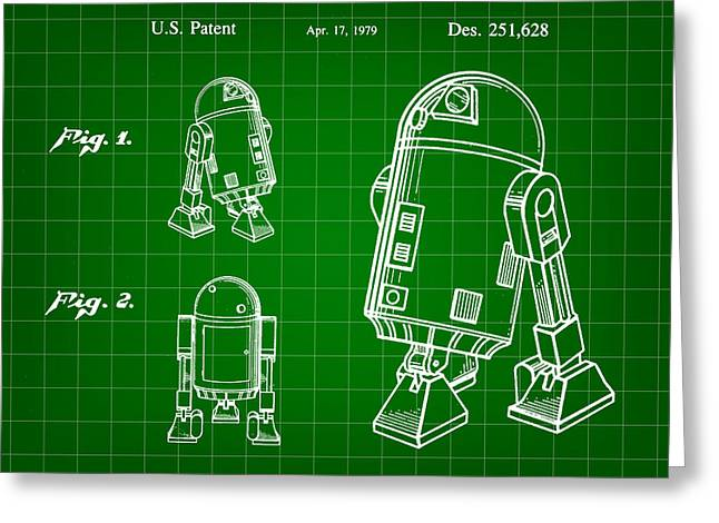 Galactic Empire Greeting Cards - Star Wars R2-D2 Patent 1979 - Green Greeting Card by Stephen Younts