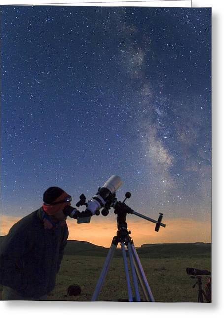 Gazer Greeting Cards - Stargazing Greeting Card by Science Photo Library