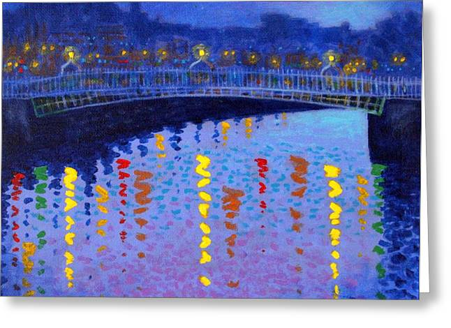 Night Scene Prints Greeting Cards - Starry Night In Dublin Greeting Card by John  Nolan