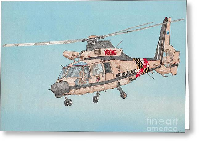 State Police Helicopter Greeting Card by Calvert Koerber