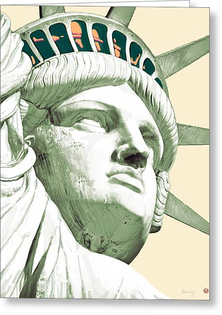 Statue Greeting Cards - Statue Liberty - pop stylised art poster Greeting Card by Kim Wang