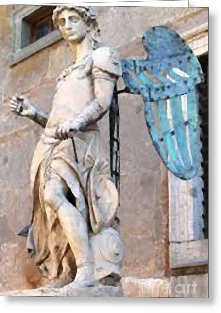Archangel Sculptures Greeting Cards - Statue Greeting Card by Matteo TOTARO