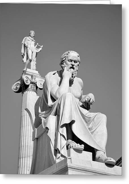 Greek Greeting Cards - Statues of Socrates and Apollo Greeting Card by George Atsametakis