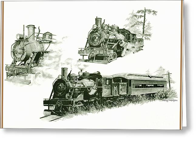 Mt Drawings Greeting Cards - Steam Engine Greeting Card by Kelly Morgan