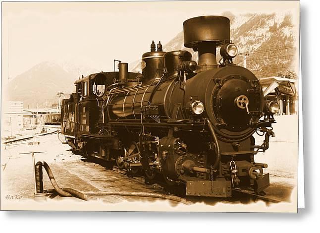 Steam Train Greeting Cards - Steam Locomotive Greeting Card by Ha Ko