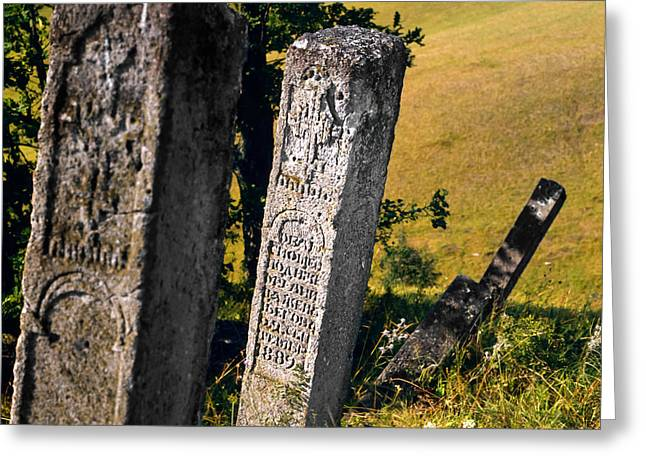 Verb Greeting Cards - Stecci. Medieval Tombstones. Serbia Greeting Card by Juan Carlos Ferro Duque