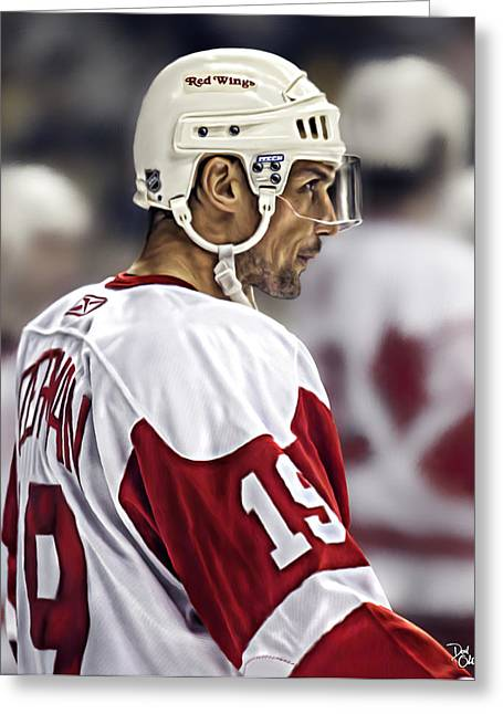 Reebok Greeting Cards - Steve Yzerman Greeting Card by Don Olea