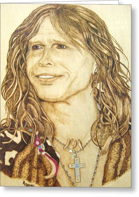 Original Pyrography Greeting Cards - Steven Tyler Greeting Card by Roger Storey