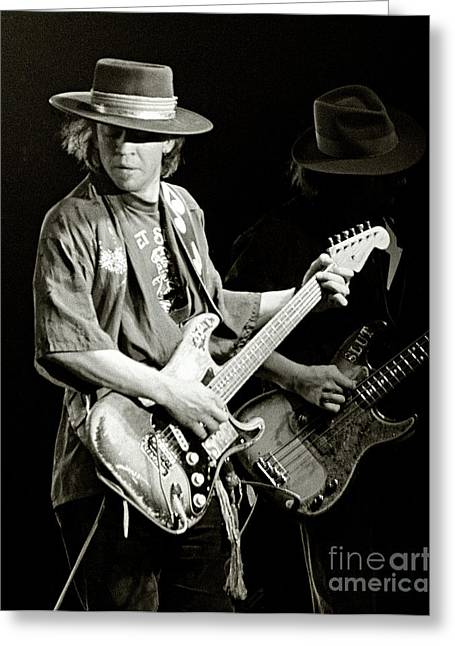 Guitar Pictures Greeting Cards - Stevie Ray Vaughan 1984 Greeting Card by Chuck Spang
