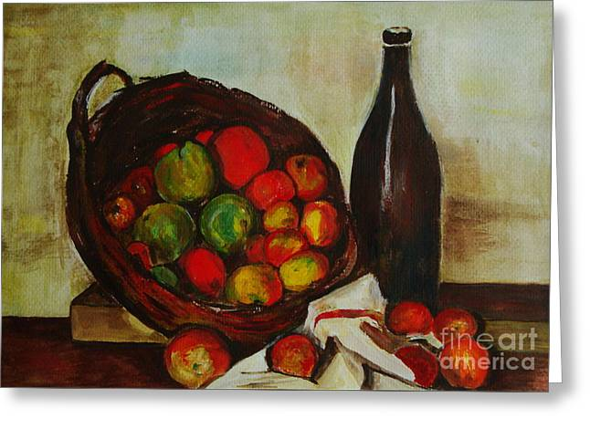 Veronica Rickard Greeting Cards - Still Life with Apples after Cezanne - painting Greeting Card by Veronica Rickard